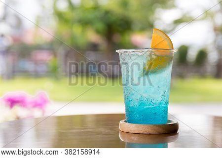 Blue Hawaii Drink With Lemon. Fresh Alcohol Blue Hawaii Cocktail With Lemon.cocktail Blue Hawaii.