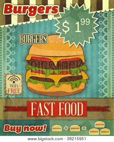 Grunge Cover For Fast Food Menu