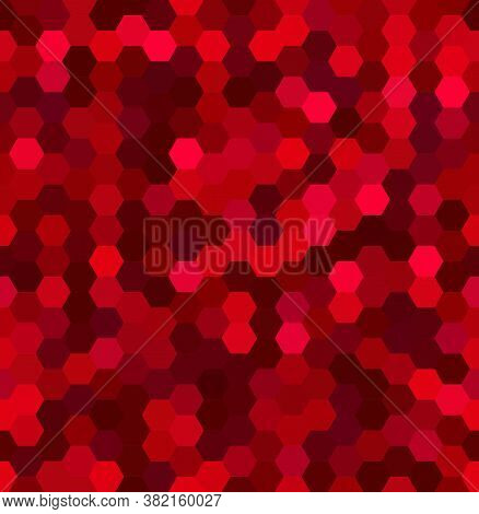Vector Background With Red Hexagons. Can Be Used For Printing Onto Fabric And Paper Or Decoration.