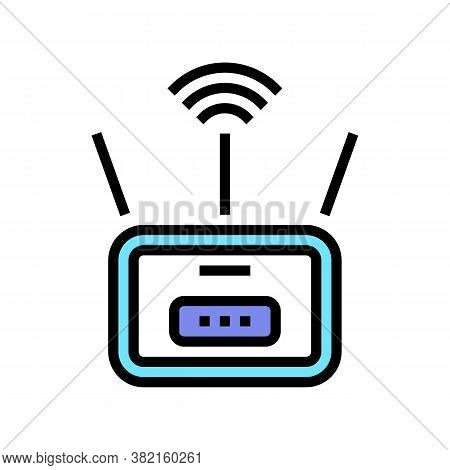 Wifi Router Color Icon Vector. Wifi Router Sign. Isolated Symbol Illustration