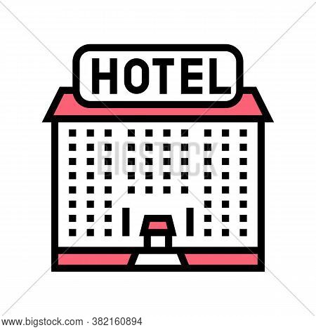 Hotel Building Color Icon Vector. Hotel Building Sign. Isolated Symbol Illustration
