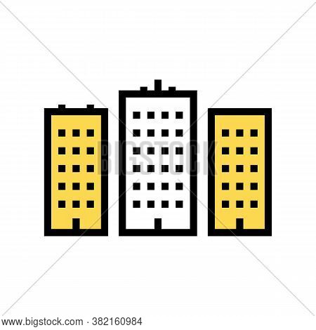 City High Buildings Color Icon Vector. City High Buildings Sign. Isolated Symbol Illustration