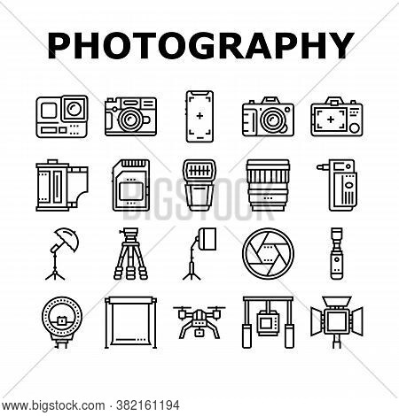 Photography Device Collection Icons Set Vector. Mobile Phone And Photo Camera, Go Pro And Drone, Mem