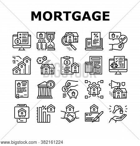 Mortgage Real Estate Collection Icons Set Vector. Mortgage Agreement Contract Signing And Handshake,