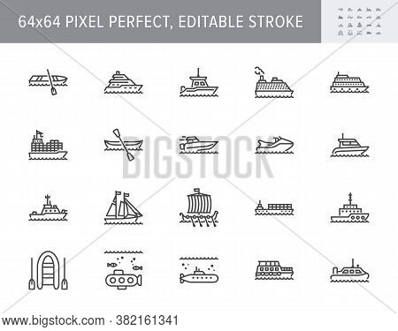 Ship, Boat Line Icons. Vector Illustration Included Icon As Yacht, Cruise, Cargo Shipping, Submarine