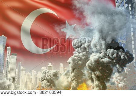 Large Smoke Pillar With Fire In Abstract City - Concept Of Industrial Explosion Or Terrorist Act On