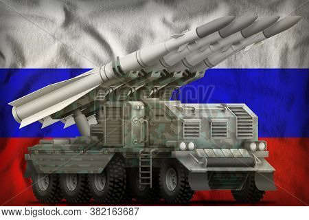 Tactical Short Range Ballistic Missile With Arctic Camouflage On The Russia Flag Background. 3d Illu