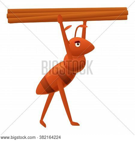 Ant Carry Wood Icon. Cartoon Of Ant Carry Wood Vector Icon For Web Design Isolated On White Backgrou