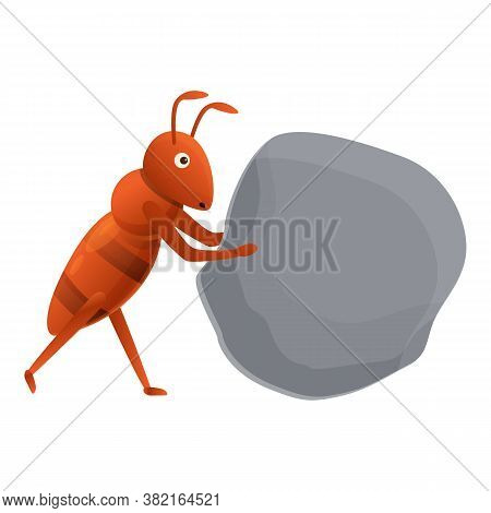 Ant Find Stone Icon. Cartoon Of Ant Find Stone Vector Icon For Web Design Isolated On White Backgrou