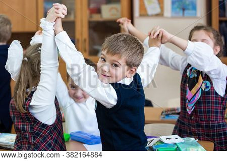 Russia, Moscow, September 2017, School Photography. Students Work In A Group. Primary School, School