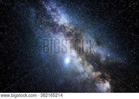 Milky Way Galaxy. This Long Exposure Astronomical Photograph Taken In The Middle Of The Night.