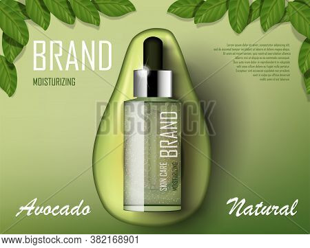 Avocado Cosmetics Oil Template Ad. Organic Product Bottle Mockup Advertising Poster Template. Realis