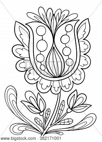 Floral Coloring Illustration For Book Black And White Image With Herbal Elements Anti Stress Vector