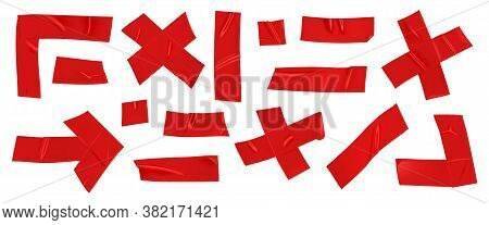 Red Duct Repair Tape Set Isolated On White Background. Realistic Red Adhesive Tape Pieces For Fixing
