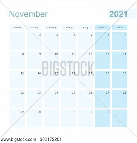 2021 November Wall Planner In Blue Pastel Color, Week Starts On Monday. Calendar For November 2021 W