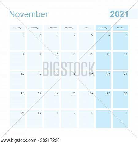 2021 November Wall Planner In Blue Pastel Color, Week Starts On Monday. Calendar For November 2021 W