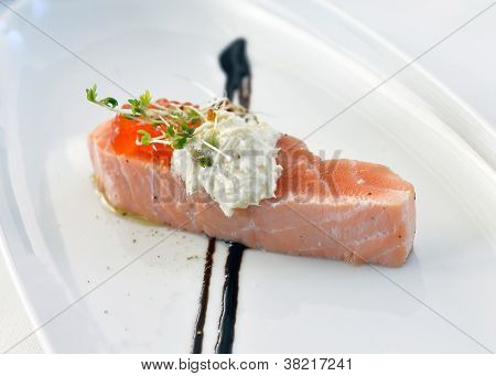 abdomen salmon with red caviar on a plate poster