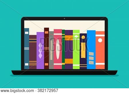 Online Library Book In Laptop. Ebook Store In Computer. Digital Catalog For Learn In School. Electro