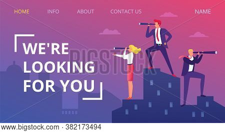 Job Business Vacancy, Vector Illustration. Search Person For Career, People Employment, Looking For
