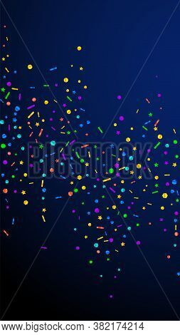 Festive Stylish Confetti. Celebration Stars. Festive Confetti On Dark Blue Background. Fresh Festive