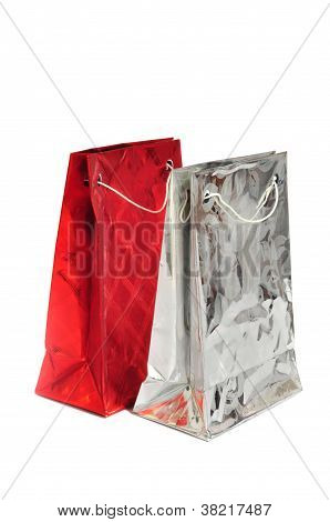 Two Festive Gift Packages Isolated On White Background
