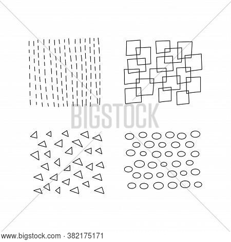 Set Of Scribble Abstract Doodle Textures Isolated On White Background. Freehand Inky Stripes, Square