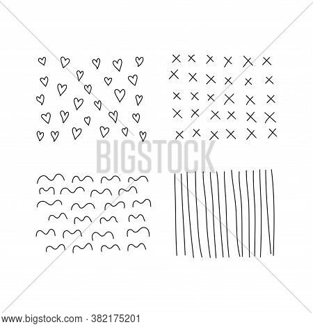 Set Of Scribble Abstract Doodle Textures Isolated On White Background. Freehand Inky Stripes, Hearts