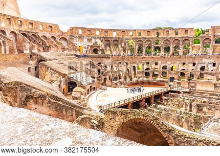 Rome, Italy - May 6, 2019: Interior Of Colosseum, Aka Coliseum Or Flavian Amphiteatre - The Biggest