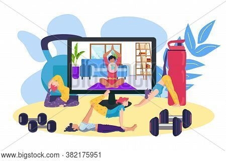 Fitness Training Online, Sport Exercise Video For Woman Body Health Vector Illustration. Girl Person