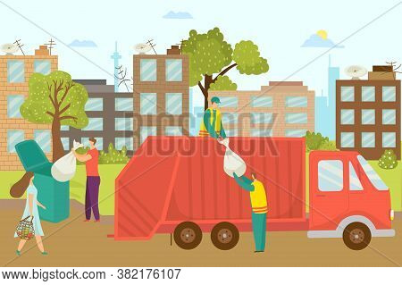 Garbage Disposal At Street, Removal Container With Waste Vector Illustration. Worker Refuse Bin At T