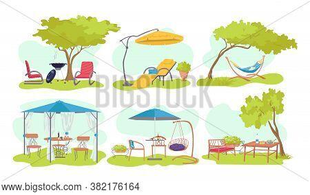 Garden Outdoor Wood Furniture Set, Vector Illustration. Summer Home Design At Nature Background, Fla