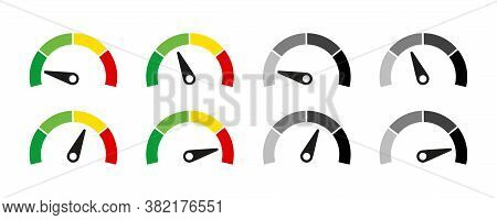 Speedometer Or Customer Indicators Of Satisfaction. Vector Isolated Illustration. Rating Satisfactio