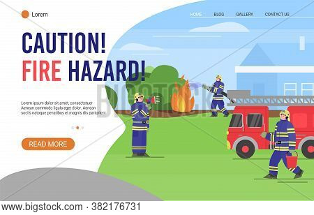 Web Banner Warning Of Fire Hazard With Firefighters In Protective Clothing Extinguish Wildfire, Flat