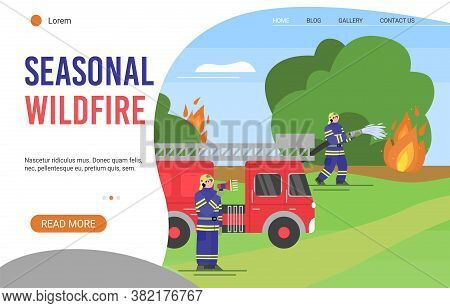 Seasonal Fire Fighting Service Website Page Template With Firefighters In Protective Clothing And He