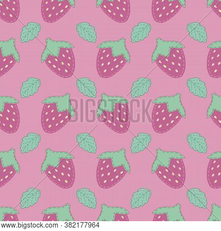 Cute Strawberries With Decorative Stitching For Girl, Toy, Vector Seamless Pattern On Pink Backgroun