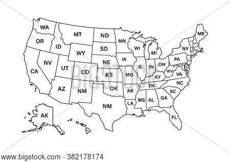 Usa Map States. Vector Line Design. High Detailed Usa Map. Labeled With Postal Abbreviatations. Stoc