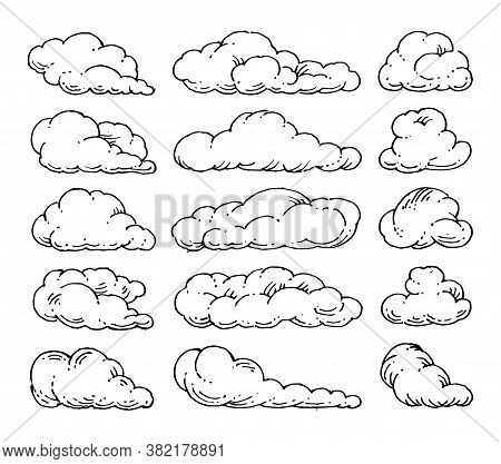 Clouds Set. Vector. Outlain Hand Drawing. The Isolated Object On A White Background.