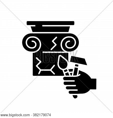 Restoration Black Glyph Icon. Renovate Cracked Greek Column. Professional Decorator Work. Building I