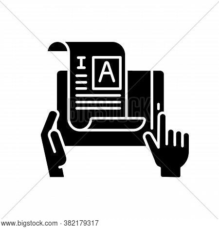 Self Publishing Black Glyph Icon. Digital Article. Copywriter Document. Professional Journalist. Ind