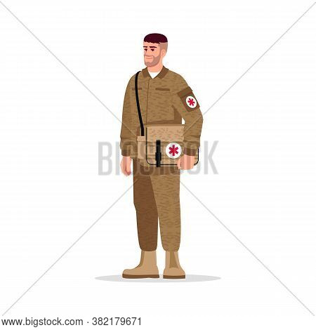 Military Doctor Semi Flat Rgb Color Vector Illustration. Male Army Medic. Noncombatant Doctor. Young