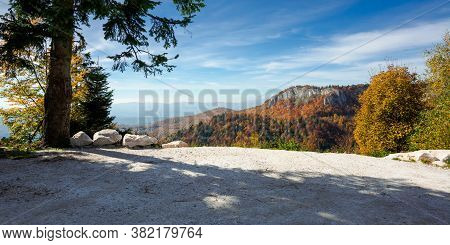 View Of Carpathian Mountain Landscape In Autumn. Wonderful Panorama Of Apuseni Natural Park. Trees I