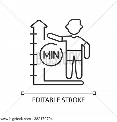 Height Limit Linear Icon. Waterpark Safety, Amusement Park Rule Thin Line Customizable Illustration.