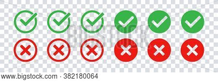 Green Check Mark And Red Cross Icon Set. Vector Isolated Elements. Tick Approved Symbol. Stock Vecto