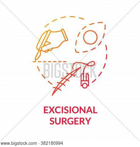 Excisional Surgery Concept Icon. Dermatology. Surgical Procedures. Tumor Removal. Melanoma Treatment