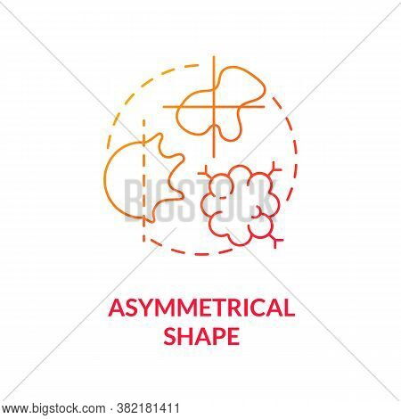 Asymmetrical Shape Concept Icon. Skin Cancer Warning Signs. Abcdes Of Melanoma. Oncology Diagnostics