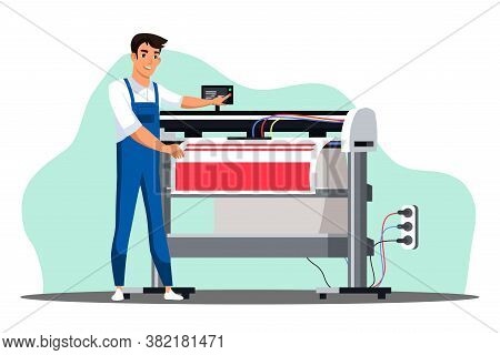 Professional Equipment For Advertising Agency Concept. Man Worker Prints On Large Format Plotter Mac