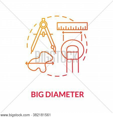 Big Diameter Concept Icon. Warning Symptomes. Melanoma Diagnostics. Self Examination Of Skin. Large