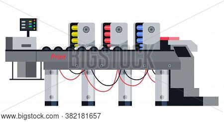 Professional Equipment For Advertising Agency Concept. Offset Printing Machine, Printer Isolated Obj