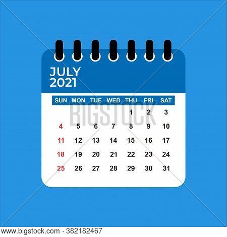 July 2021 Calendar. Calendar July 2021. June 2021 Calendar Vector Illustration. Wall Desk Calendar V