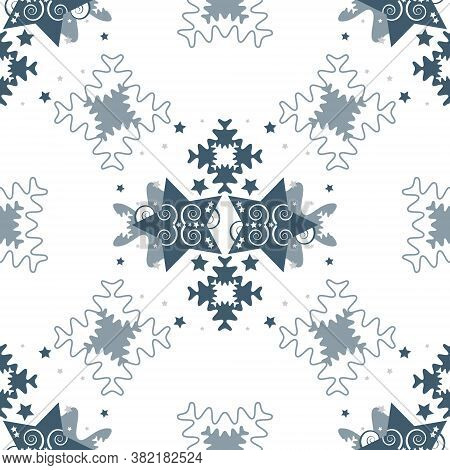 Pattern Of Stars And Puzzle Pieces Style. Seamless Pattern Christmas Theme. Vector Illustration.